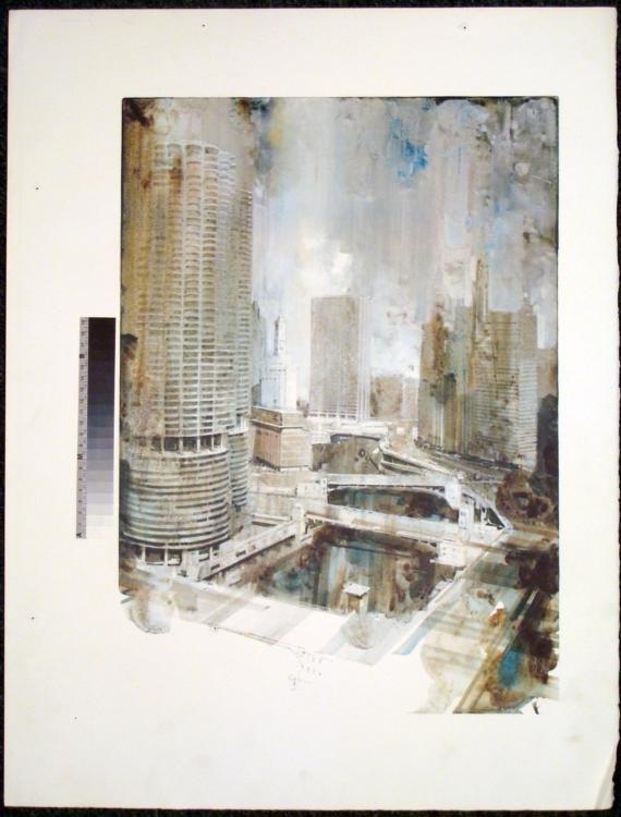 Chicago River Marina Tower Rare Printer Proof Art Print