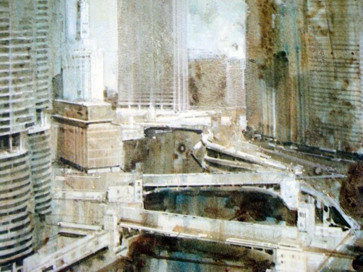 Chicago River Marina Tower Rare Printer Proof Art Print - 2