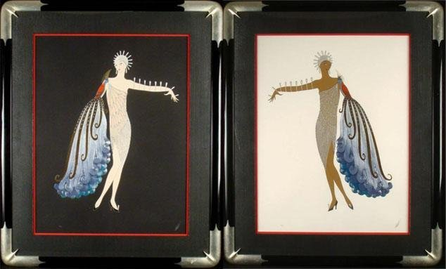 ERTE Diva Suite I & II Signed Framed Prints