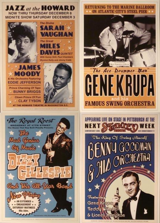 4 Jazz Concert Repro Posters Gillespie Goodman Vaughan