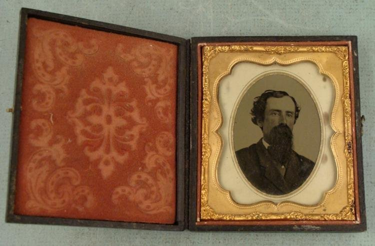 Antique Photo Man w/ Large Beard, in Frame