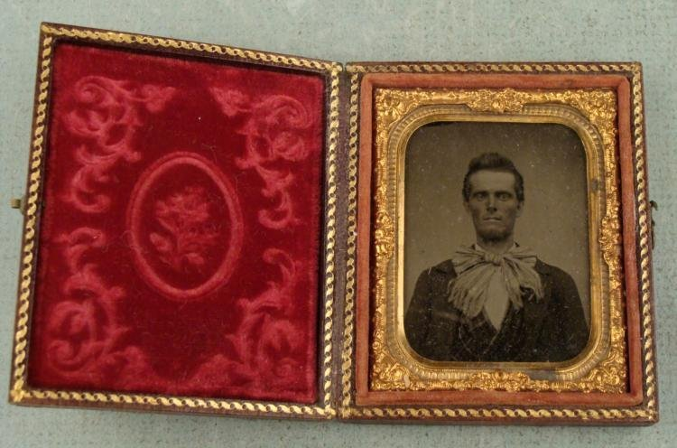 Antique Tintype Photo Man w/ Large Bow Tie, in Frame