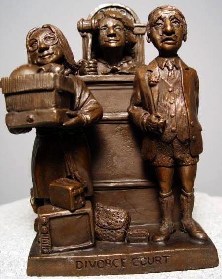 Charles Bragg Original Bronze Sculpture Divorce Court