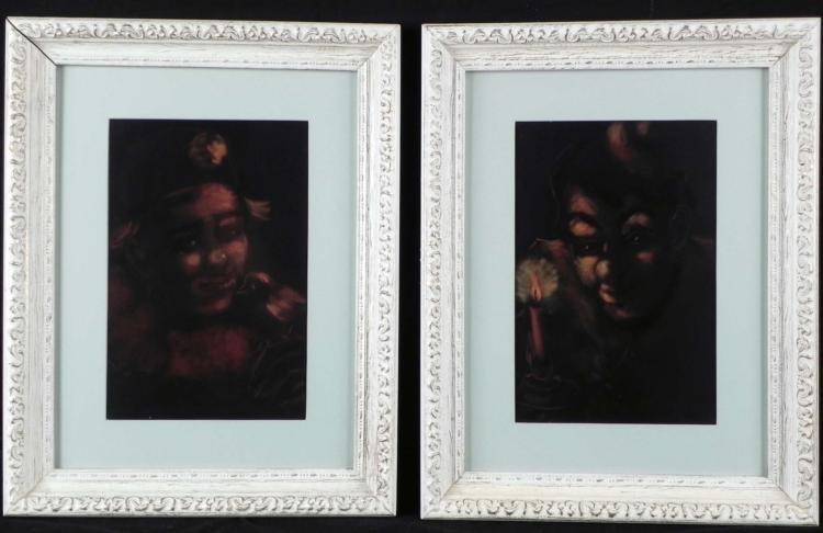 2 Clowns By Candlelight Dark Art Prints -Framed