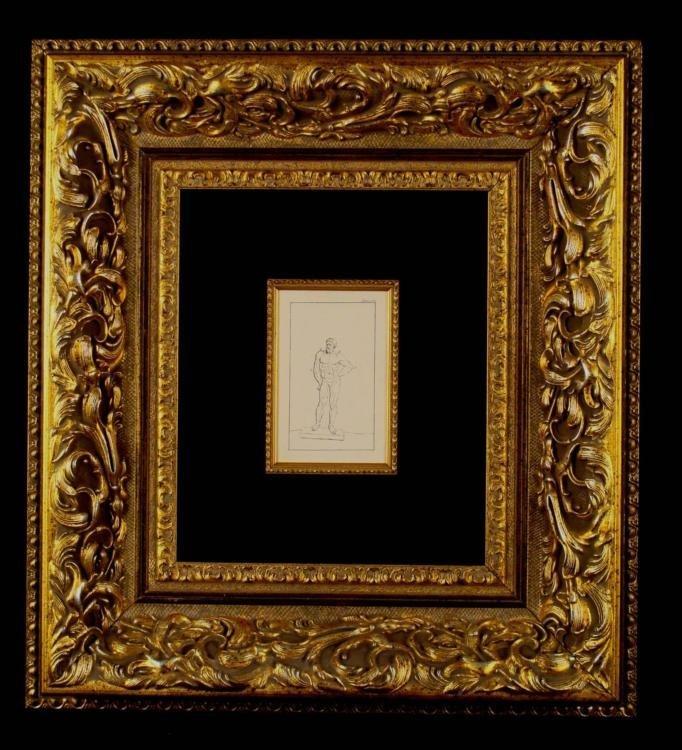 Leonardo Da Vinci Etching Standing Man C. 1651 Framed