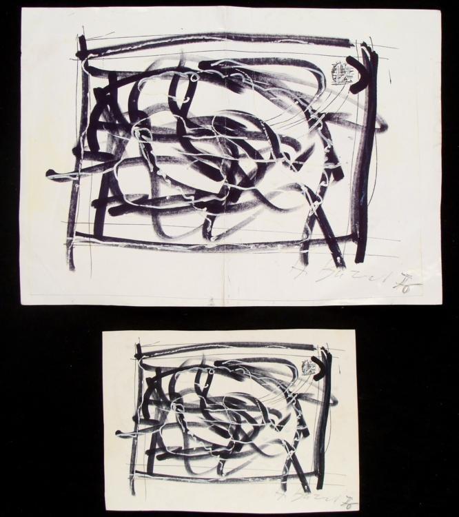 3 Alberto Burri Original Signed Art Works Double Sided