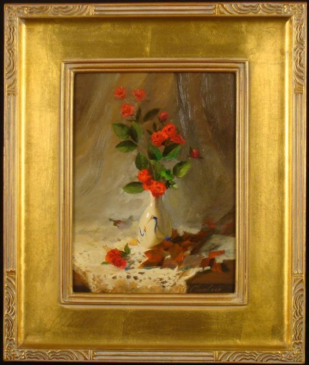 William Chambers Original Painting Tea Roses & Old Lace