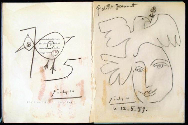2 Picasso Original Drawings Signed In Exhibit Book 1936