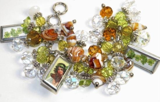 Vintage Style Art Glass Irish Charm Bracelet