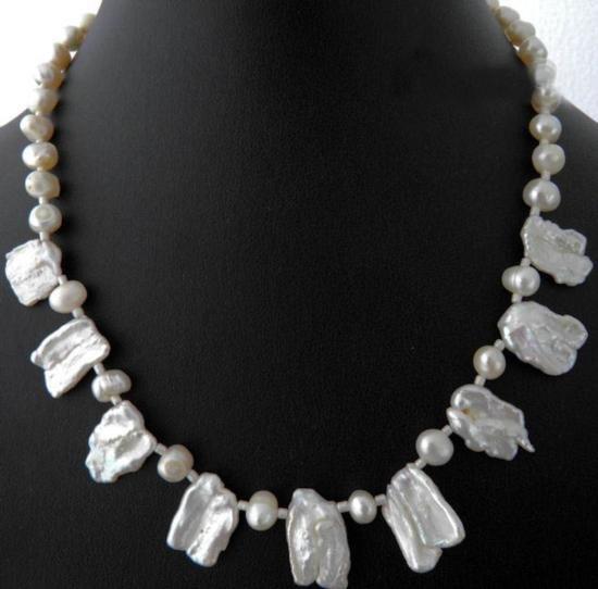 Rare-white Biwa Pearls and genuine fresh water Pearls N