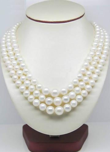 Stunning 48in 9-10mm White Akoya Pearl Necklace with 14