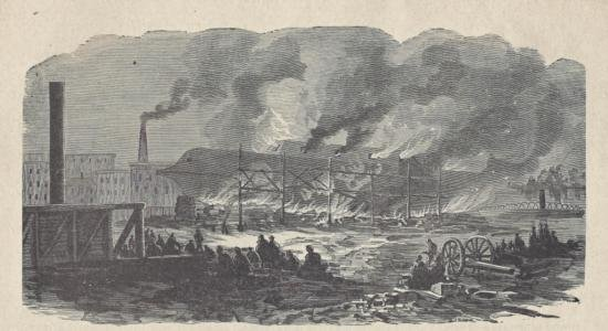 ORIGINAL Antique PRINT scene Burning of the Navy Yard