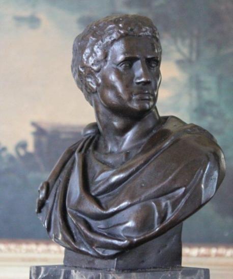 Regal Nero Claudius Bust Bronze Sculpture