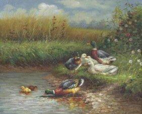 8 X 10 Oil on Board ~Ducks in Pond~