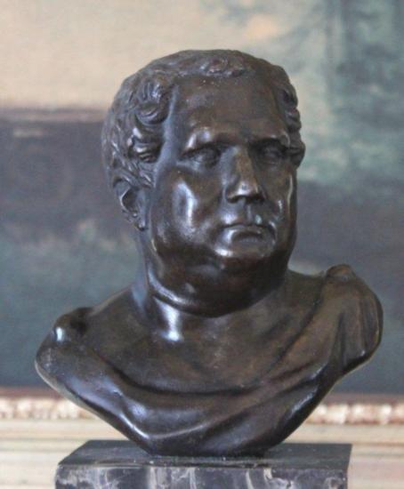 Commanding Caesar Bust Bronze Sculpture