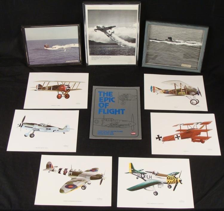 1952 WWII & KOREA FRAMED PHOTOS AND FLIGHT BOOK