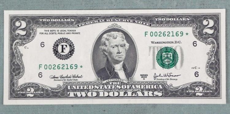 2003 $2 Atlanta F Mint CU Star Note Very Low Number