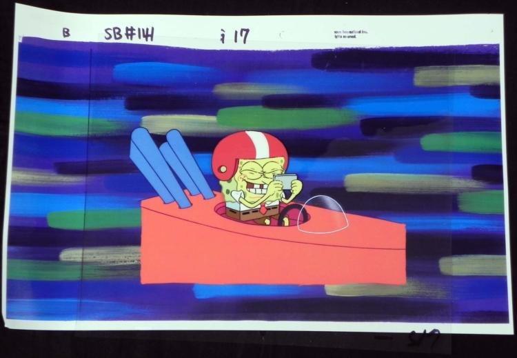 Orig SpongeBob Animation Cel & Background Drivr License