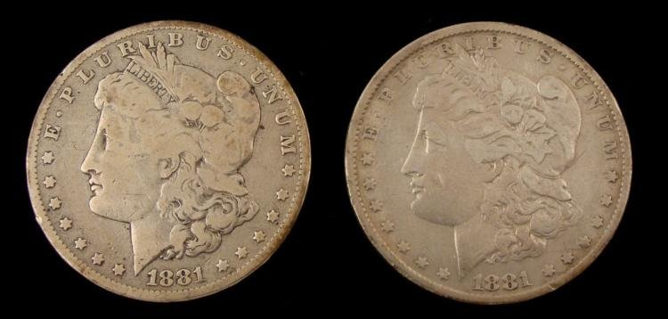 1881 & 1881-O Morgan Silver Dollars
