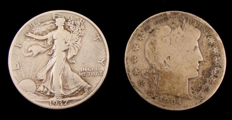 1937-S Walking Liberty & 1904-S Barber Half Dollars