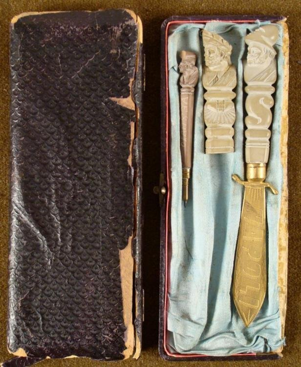 WWII ERA 3 PC CASED ITALIAN SOAPSTONE SET