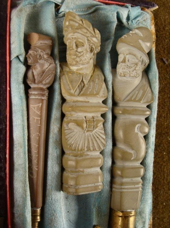 WWII ERA 3 PC CASED ITALIAN SOAPSTONE SET - 2