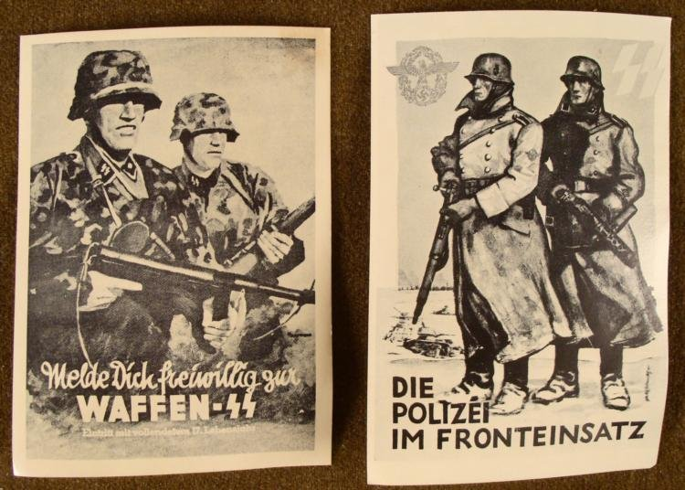 2 RARE NAZI ERA POSTCARDS- WAFFEN SS AND POLICE SS 1942