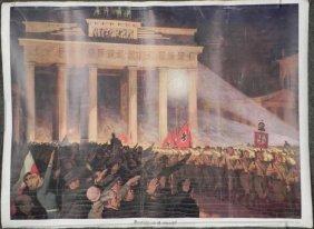 RARE ORIGINAL NAZI NURENBURG TORCHLITE RALLY ART POSTER