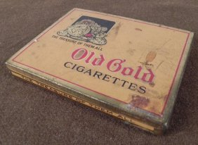 1950'S OLD GOLD 50 CIGARETTES FLAT TIN CASE