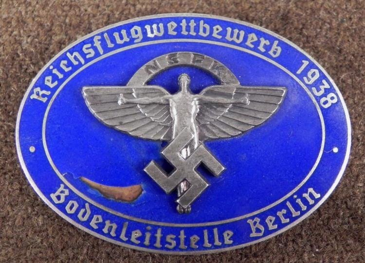 NAZI 1938 NSFK BERLIN AWARD BADGE