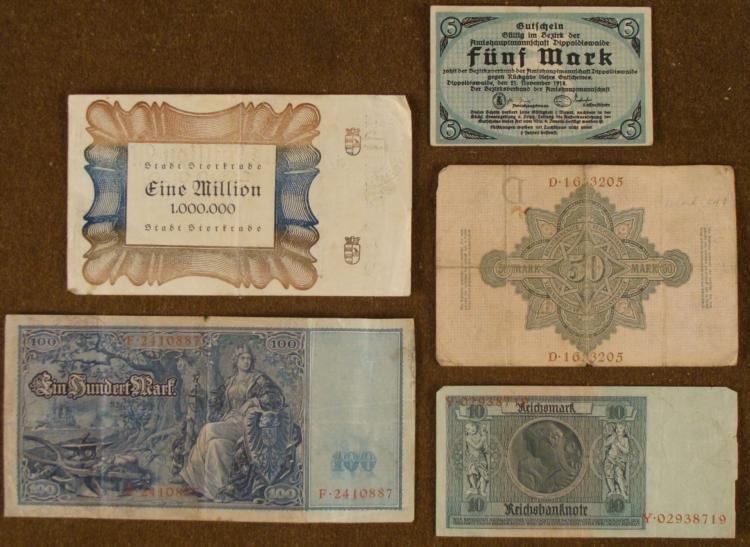 FIVE PIECE GERMAN PRE-NAZI CURRENCY - 2