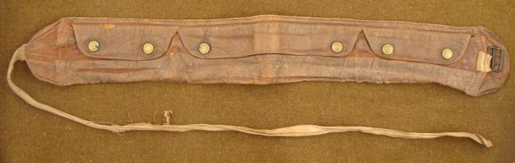 OLD MILITARY AMMO POUCH-LEATHER BUCKLE & FABRIC STRAP
