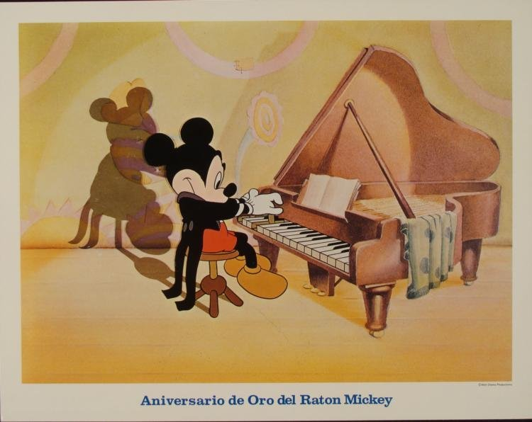 Mickey Mouse-Piano Golden Anniversary Orig Lobby Card