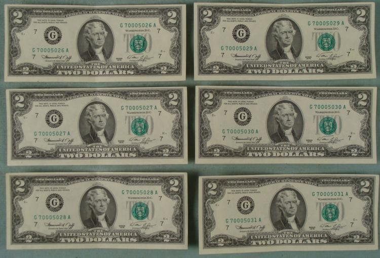 1976 6 $2 Dollar CU Bills Sequential Numbered Chicago