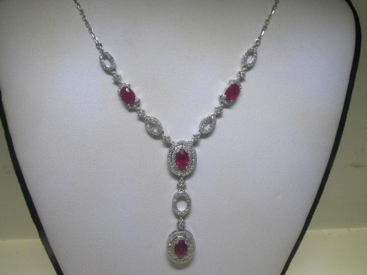 2.66 CT Ruby & .81 CT Diamonds 14K White Gold Necklace