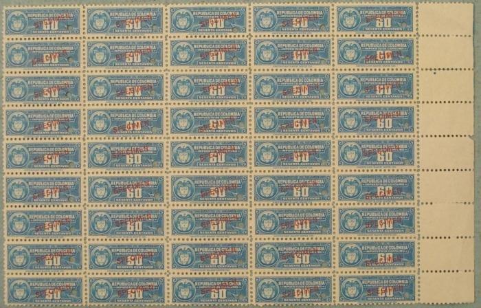 45 Colombia Specimen Revenue Stamps Plate Block 60 Cent