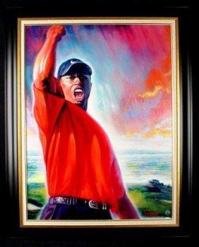 4x Masters Tiger Woods Signed Canvas Art Print Framed