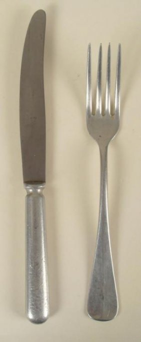 2 Pc WWII Nazi German Vermact Army Cutlery Knife, Fork