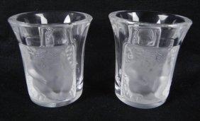 2 Lalique Signed Crystal Enfants Liquor Shot Glasses
