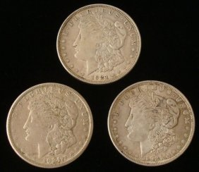 3 1921 Morgan Silver Dollars -Nice Coins