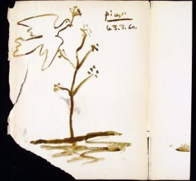 Picasso Original Drawing Signed on Book Jacket Dove
