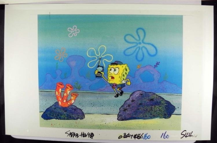 Orig SpongeBob Production Cel & Background Monitor Run