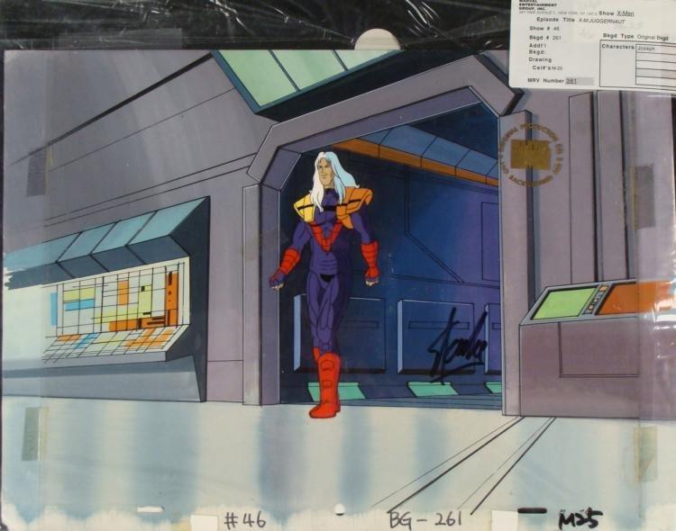 X-MEN Original Animation Background Signed Stan Lee Cel