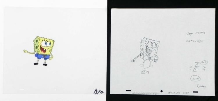 Drawing Original Fascinating Spongebob Animation Cel