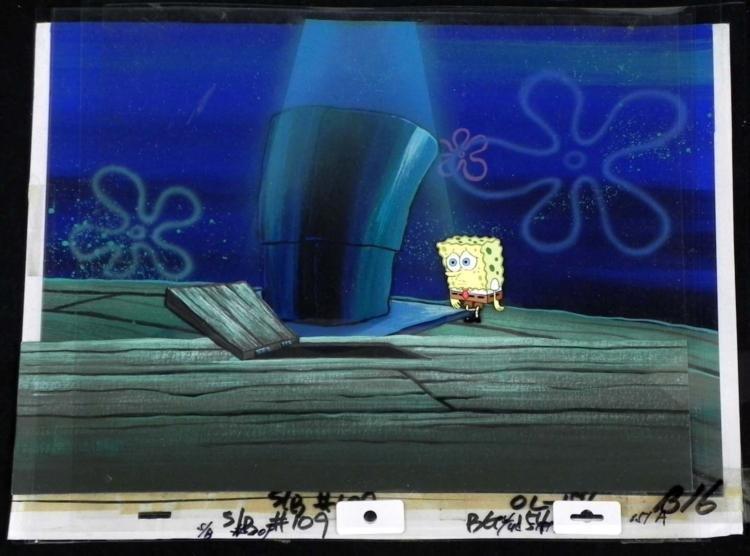 Orig SpongeBob 6 Layer Animation Cel & Background-Hatch