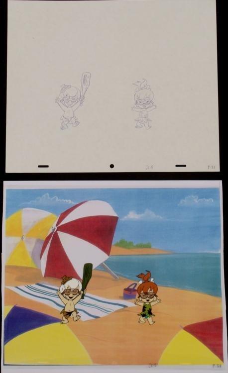 Animation Original Cel Drawing Bam Bam Pebbles Exstatic