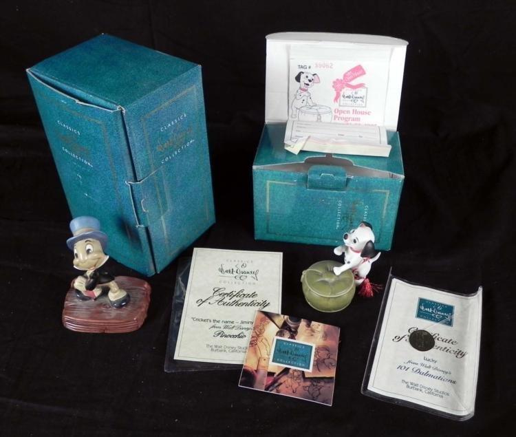 2 Disney Society Sculptures Jiminy Cricket Lucky MIB