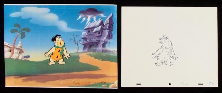 Flintstones Original Animation In Awe Cel Drawing Fred