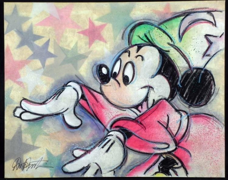 Dick Duerrstein Orig Art Painting Mickey Sorcerer
