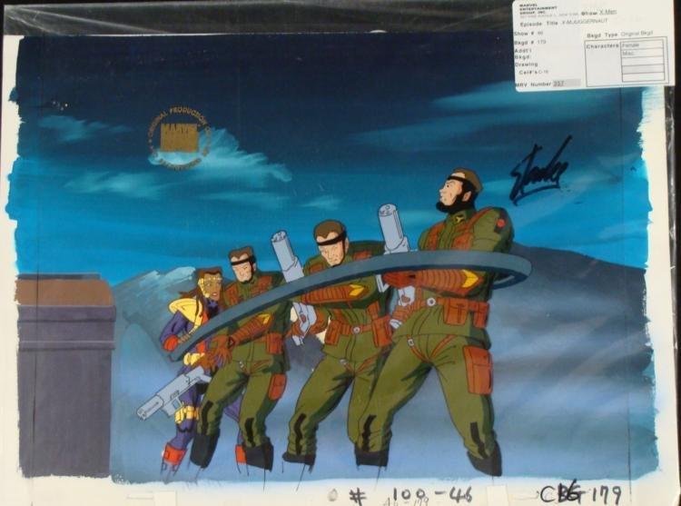 X-MEN Background Original Signed Cel Animation Stan Lee